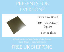 """10 x 10"""" Inch Square Silver Covered Cake Board FREE SHIPPING"""