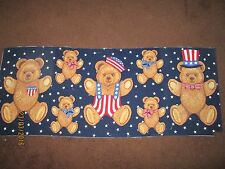 AMERICANA RED WHITE & BLUE STARS & STRIPES TEDDY BEARS FABRIC OR APPLIQUES