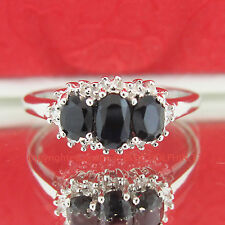 Genuine Diamond Sapphire Solid Silver Trilogy Anniversary Ring White Gold Finish