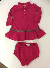 Ralph Lauren Pink Tennis Dress & Knickers Age 9m Months Girls Long Sleeve