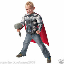 Avengers Age of Ultron Thor Child Muscle Top & Hammer Costume Set Size 4-6 NEW