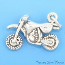 MOTORCYCLE MOTOCROSS DIRT BIKE 3D .925 Solid Sterling Silver Charm