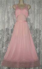 "VTG Elegant PINK Silky Nylon w Sheer Chiffon Trim Nightgown Negligee Gown M 56"""
