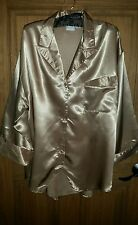 SILKY SATIN GOLD LAUNGE TOP BLOUSE SHIRT COVER UP ROBE 1X SUZANNE SOMMERS 1XL XL