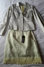 MORGAN DE TOI Lined Lace Edge Skirt & Jacket Polka Dot Suit NWT Size 8