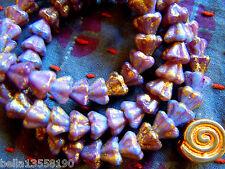Nuevas pequeñas brillante opaco Lilac Bellflower-perlas m. Gold-Rain - 30stk. -