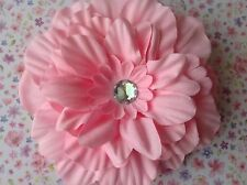 BIG PASTEL PINK CRYSTAL FLOWER CORSAGE HAIR CLIP 50s ROCKABILLY PIN UP GLAMOUR
