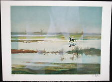 Artist UNKNOWN, Original Lithograph, Netherlands Nude Woman Riding Horse, Signed