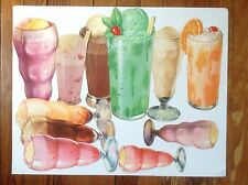 11 VINTAGE ICE CREAM FLOAT DIE CUT PAPER SIGNS SODA FOUNTAIN ADVERTISING #2