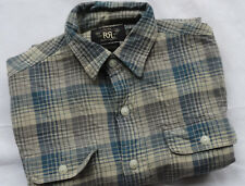 Ralph Lauren rrl double rl work shirt plaid Blue t s