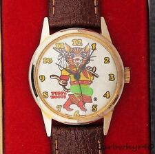 Vintage 1970's Puss N' Boots wind-up Comic Character Watch in Box