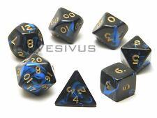DICE Oblivion BLACK / BLUE 7pc Marble Set d20 d10 d8 d6 D&D RPG Polyhedral Game