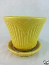 "Vintage R R P Co Roseville O Yellow pot planter 4 1/2"" tall 5"" diameter"