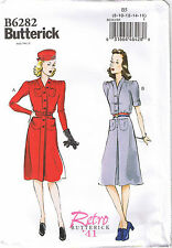 Vintage 40s Retro Dress Belt Button Front Pockets Sewing Pattern 16 18 20 22 24