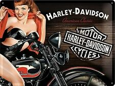 Harley Davidson American Classic Motorcycle Pin-up Large 3D Metal Embossed Sign