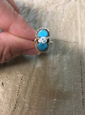 Native American Womens Zuni Turquoise Effie C. ring Size 6.5 Wow Stunning!!
