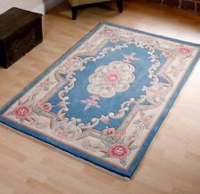 BLUE CHINESE PREMIUM AUBUSSON TRADITONAL FLORAL WOOL PILE RUGS 2'x4' or 60x120cm