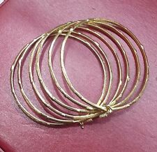 "Stack 6 18K Round Bangle Solid Gold Slip-on Type 2 3/4"" Diameter Hold by a Clasp"