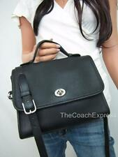 COACH Vintage Black Leather Court Turnlock Flap Crossbody #9870