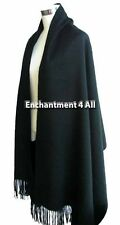"New Large 80""X28"" 100% Pure 4-Ply Cashmere Shawl Wrap Scarf Handmade, Black"