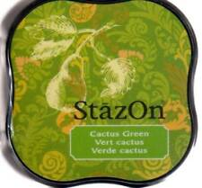 New STAZ-ON  Rubber stamp SOLVENT Ink pad CACTUS GREEN free US ship