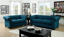Living Room 2 Pc Sofa Love-seat Chair Nailed Trimmed Dark Teal Color Sofa Set