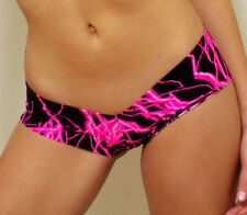 Pink Lightning Low Rise Booty Shorts/Pole Dancer/Stripper/Rave/Made in usa/s-m