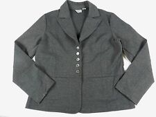 WOMEN`S BLAZER JACKET SWEATER = CHICO`S = SIZE 2 = gray button down ponte = KN62