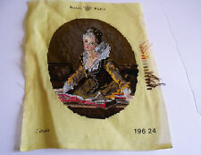 VTG PETIT POINT FINISHED L'ETUDE PICTURE BY FRAGONARD JEAN-HONORE  HANDMADE