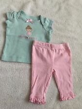 Carter's newborn baby girl two piece outfit shirt pants Daddy's princess ballet