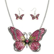 """Butterfly Necklace & Earring Set - Sparkling Crystal - 17"""" Chain - 4 Colors"""