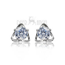 New 925 Sterling Silver White Cubic Zirconia Swarovski Shine Stone Stud Earring