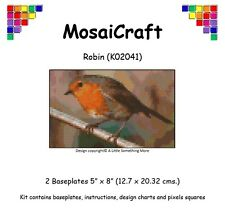 MosaiCraft Pixel Craft Mosaic Art Kit 'Robin' (Inc. Dove Tail Clips)