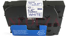 Blue on White Label Compatible for Brother Tz Tze FA3 TZeFA3 Iron On Fabric Tape
