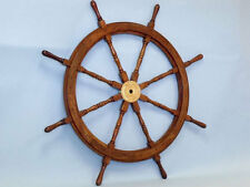 "Wood and Brass Ship Wheel 36"" Wooden Ship's Wheels"