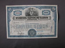 International Telephone And Telegraph Corporation Stock Certificate Aktie share