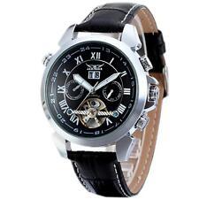 JARAGAR Luxury Calendar Leather Tourbillon Automatic Mechanical Men Wrist Watch