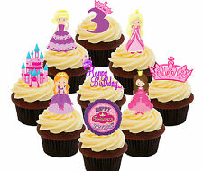 3rd Birthday Princess Edible Cup Cake Toppers, 36 Standup Fairy Decorations Girl