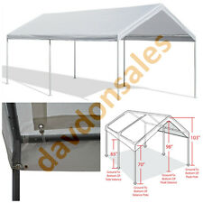 Car Canopy Shelter Cover Garage White 10' x 20' Vehicle Heavy Duty Steel Frame