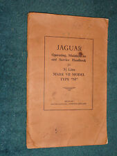"1956 JAGUAR 3.5 LITRE ""M"" TYPE OWNER'S MANUAL / RARE ORIG. GUIDE BOOK"