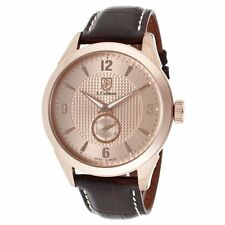 New Mens S. Coifman SC0116 Rose Textured Dial Brown Leather Swiss Made Watch
