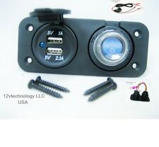 Waterproof 3.1 Amp Dual USB Charger + LED Rocker Switch + Wires Panel Marine 12V