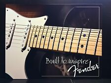 Fender Built To Inspire Guitar TIN SIGN vtg Retro Wall Decor Music