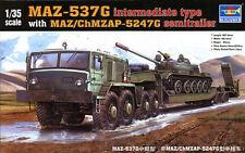 MAZ-537G Intermediate Type w/ MAZ/chMZAP-5247G Semi Trailer Plastic Kit 1:35