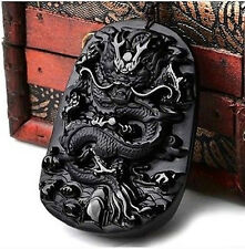 Fashion Chinese 100% Natural Obsidian Crystal Carving Dragon Pendant Necklace