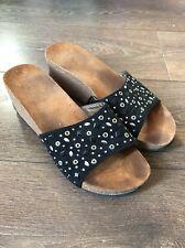Women's Size 7 Wedges Black With Diamond Detail