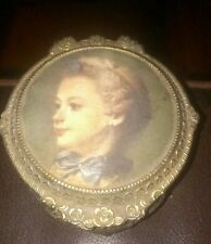 ANTIQUE BRASS GILDED TRINKET BOX WITH PORTRAIT COVER MADE IN JAPAN 3""