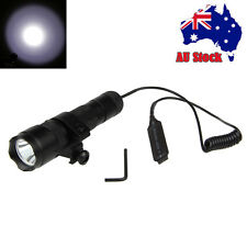 Tactical 5000Lm T6 LED Flashlight Torch Rifle Gun Light Pressure Switch Mount