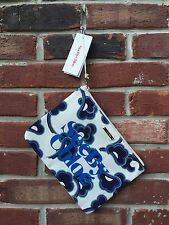 SEE BY CHLOE 'Gimmick' Medium Zip Pouch Canvas Tote Midnight Blue White Clutch *