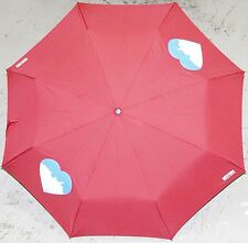Moschino Cheap & Chic RED HEARTS AUTO Umbrella Rain Sun Women Lady Stylish Gift